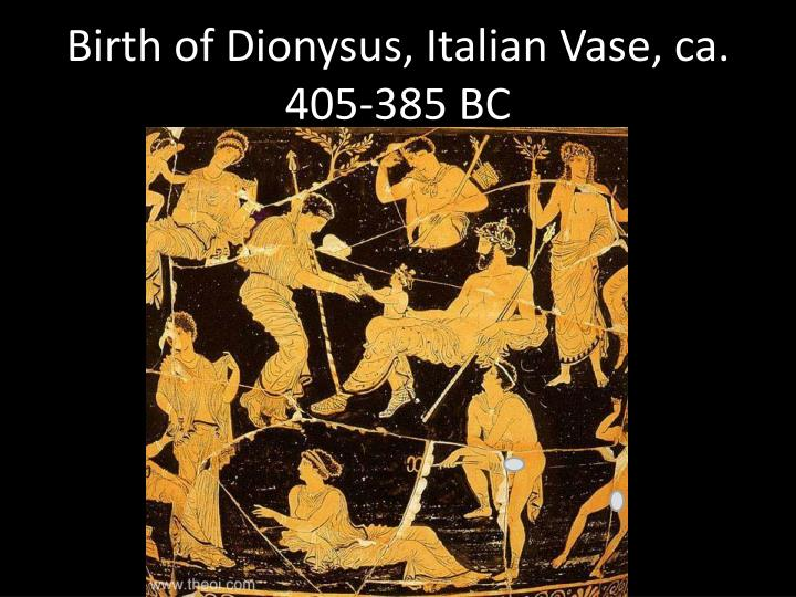 Birth of Dionysus, Italian Vase, ca. 405-385 BC