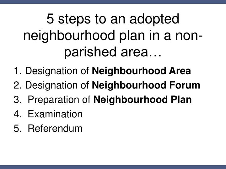 5 steps to an adopted neighbourhood plan in a non-parished area…