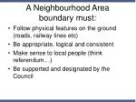 a neighbourhood area boundary must