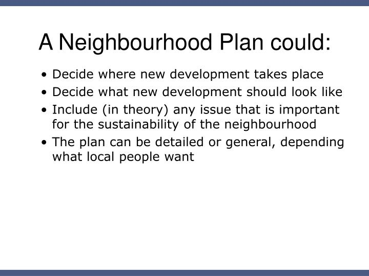 A Neighbourhood Plan could: