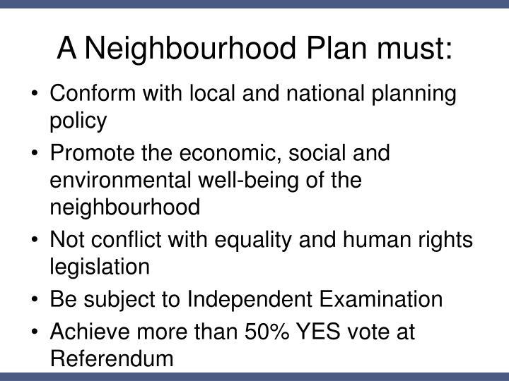 A Neighbourhood Plan must: