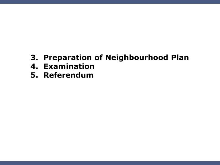 3.  Preparation of Neighbourhood Plan
