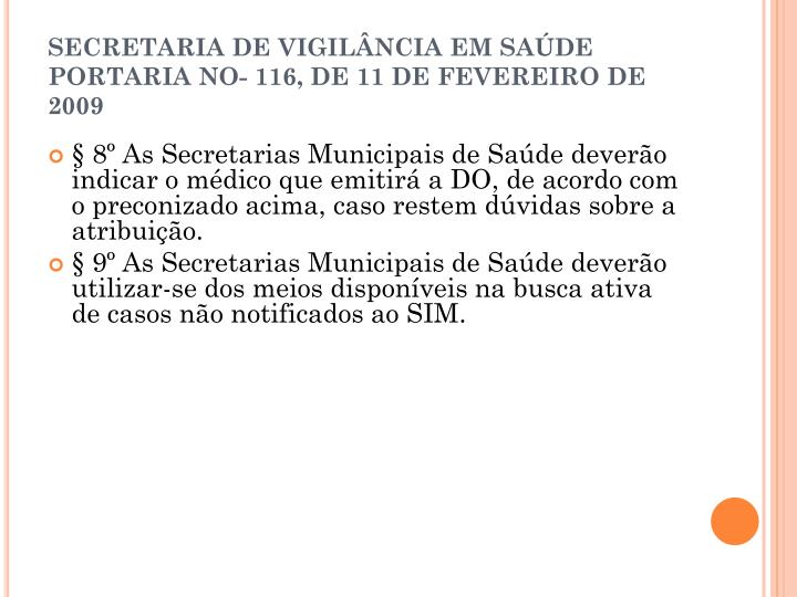 SECRETARIA DE VIGILÂNCIA EM SAÚDE