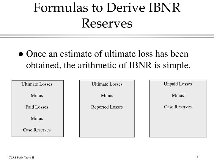 Formulas to Derive IBNR Reserves