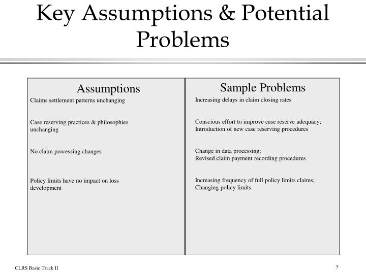 Key Assumptions & Potential Problems