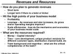 revenues and resources