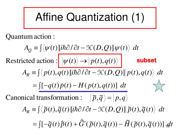 Affine Quantization (1)