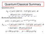 quantum classical summary