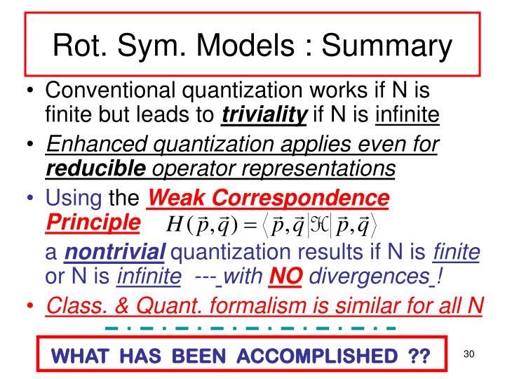 Rot. Sym. Models : Summary