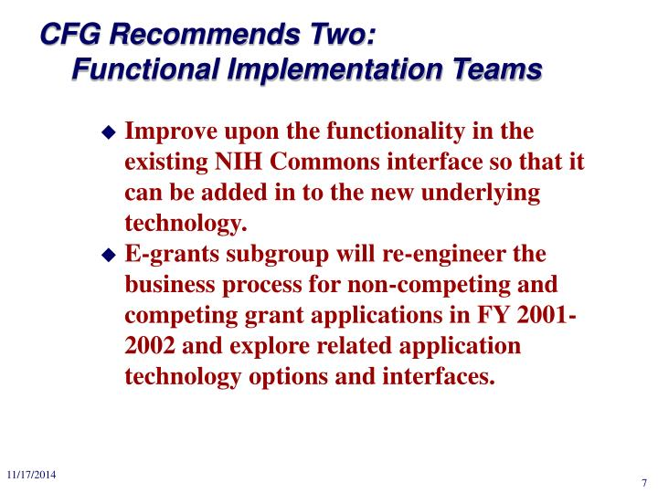 CFG Recommends Two: