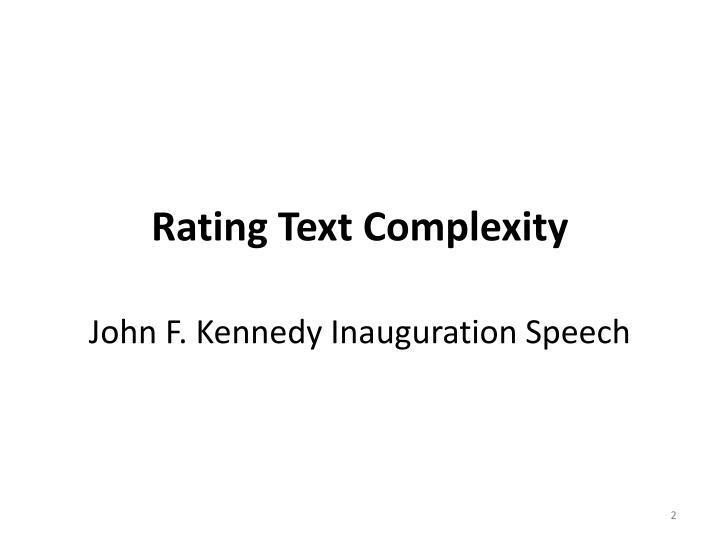 Rating Text Complexity