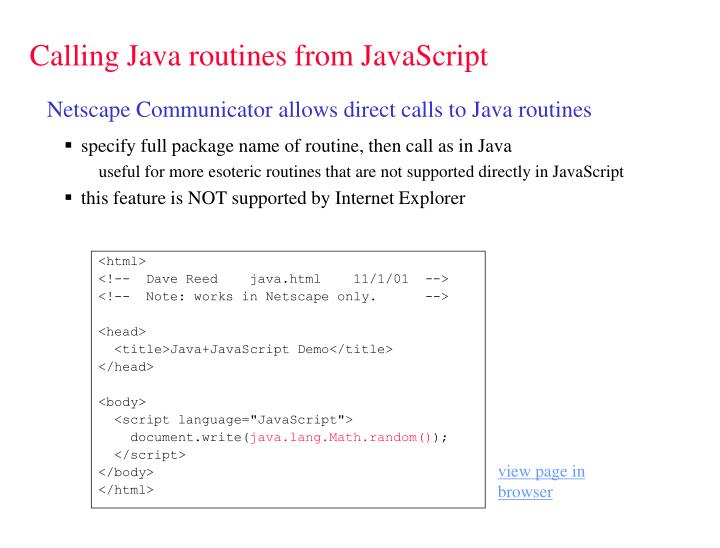 Calling java routines from javascript