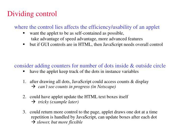 Dividing control