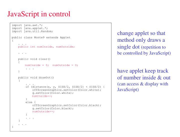 JavaScript in control