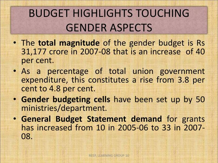 BUDGET HIGHLIGHTS TOUCHING GENDER ASPECTS