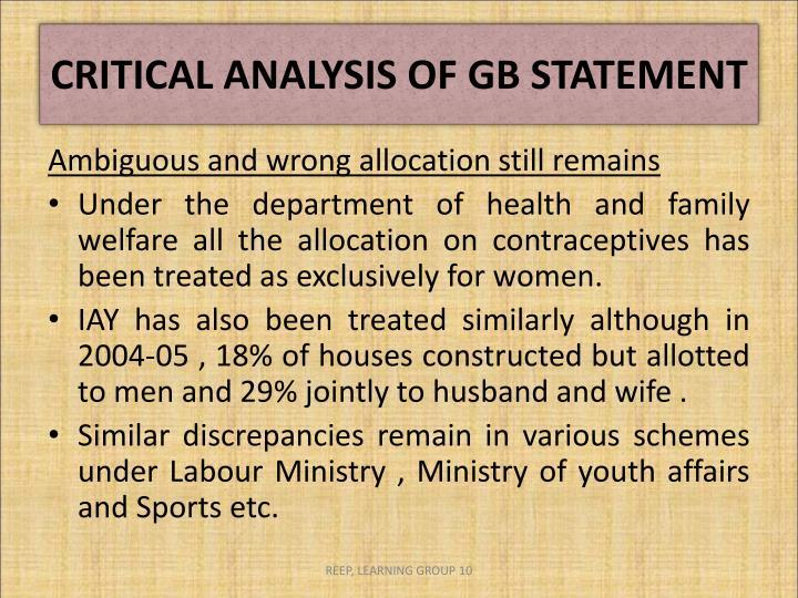 CRITICAL ANALYSIS OF GB STATEMENT