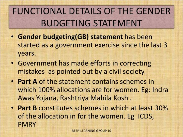 FUNCTIONAL DETAILS OF THE GENDER BUDGETING STATEMENT