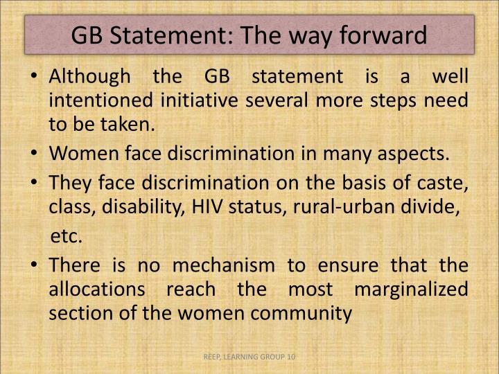 GB Statement: The way forward