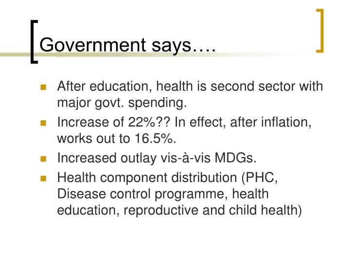 Government says….