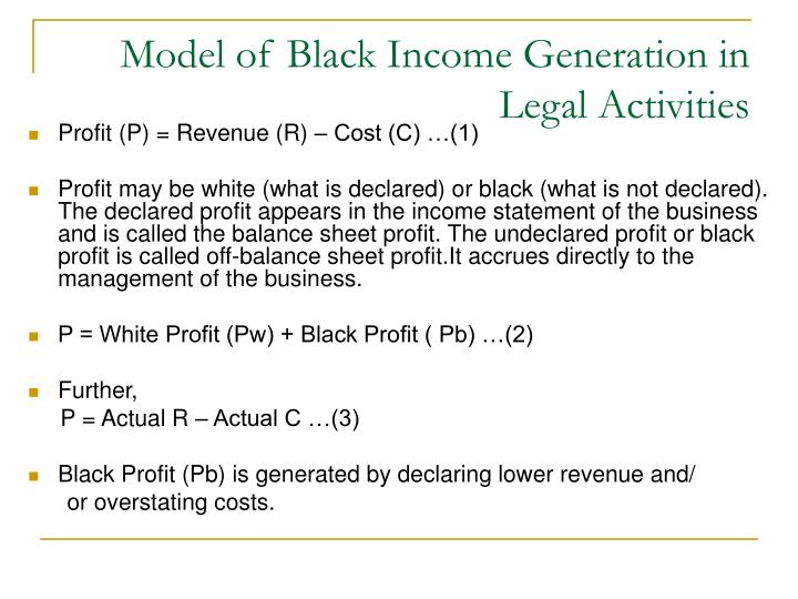 Model of Black Income Generation in Legal Activities