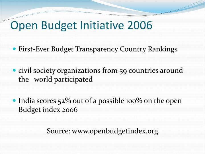 Open Budget Initiative 2006