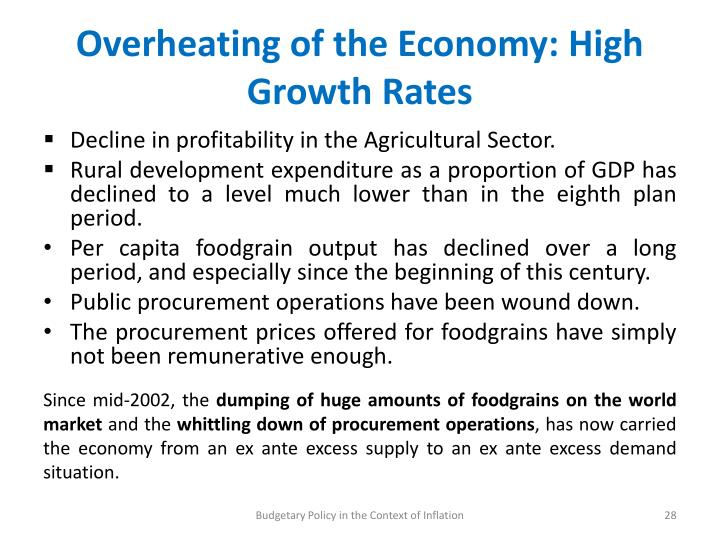 Overheating of the Economy: High Growth Rates