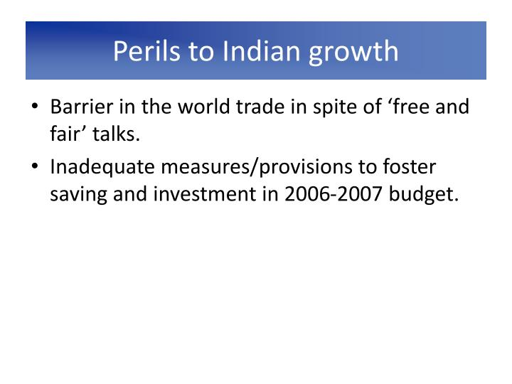 Perils to Indian growth