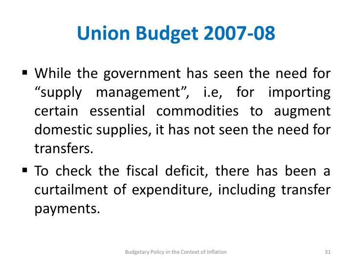 Union Budget 2007-08