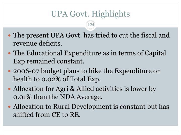 UPA Govt. Highlights