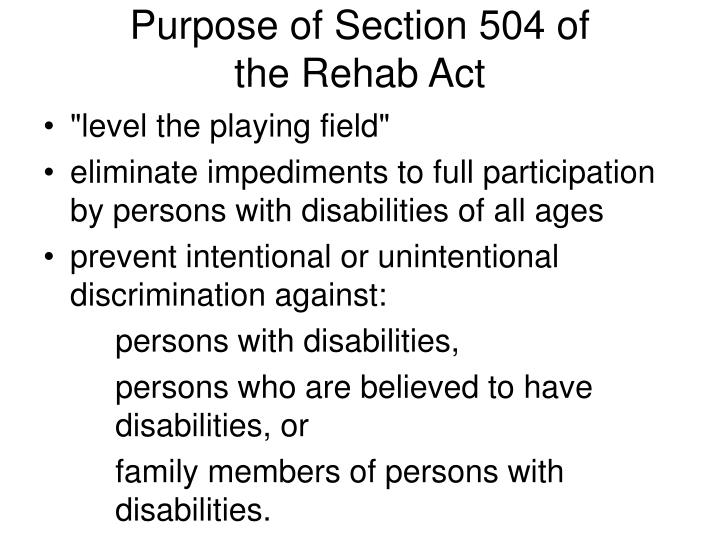 Purpose of Section 504 of