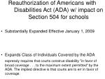 reauthorization of americans with disabilities act ada w impact on section 504 for schools