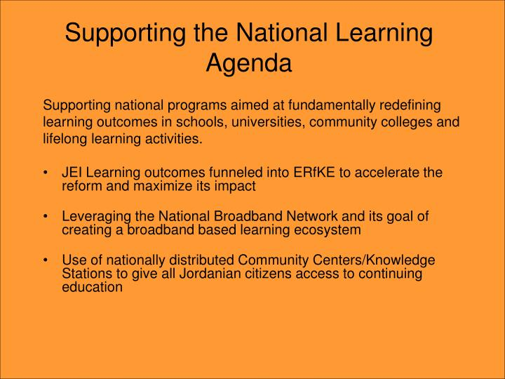 Supporting the National Learning Agenda