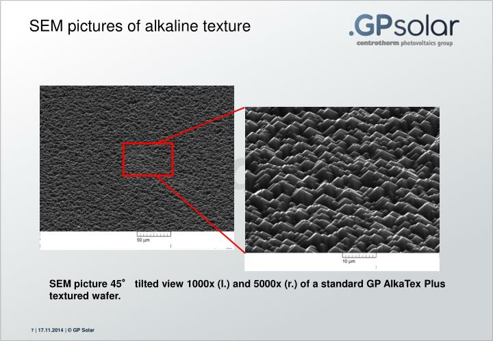 SEM pictures of alkaline texture