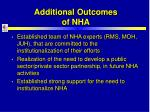 additional outcomes of nha