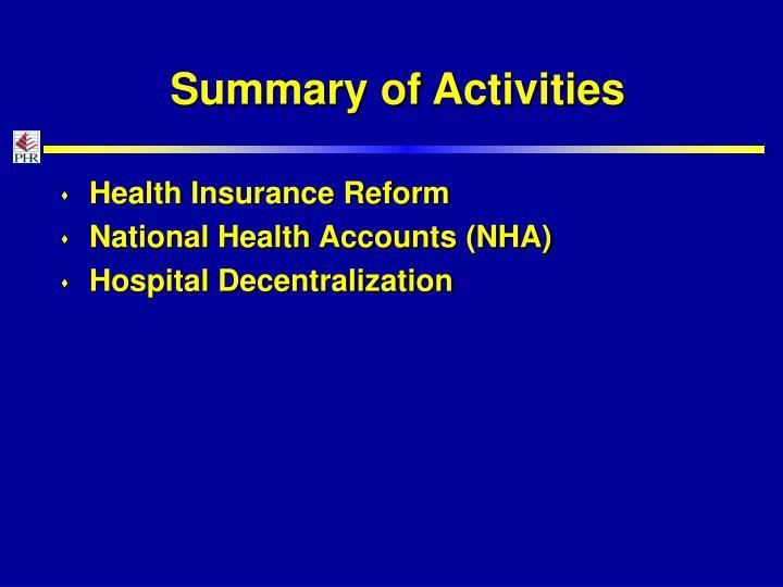 Summary of Activities