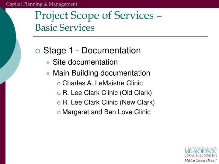 Project Scope of Services –