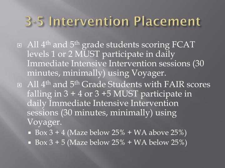 3-5 Intervention Placement