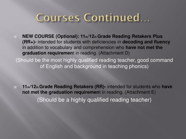 Courses Continued…
