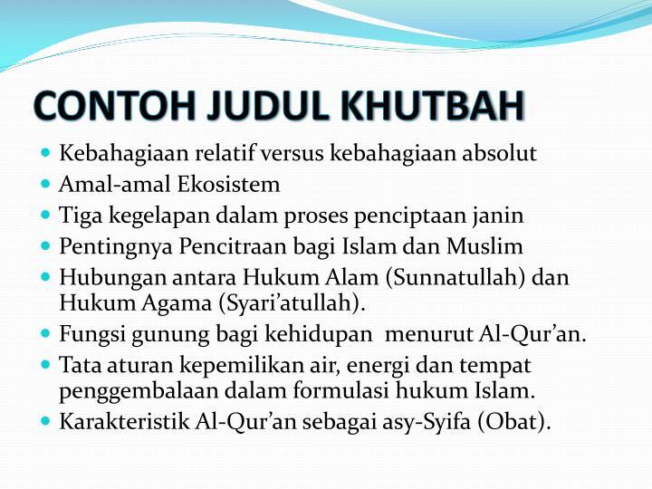 CONTOH JUDUL KHUTBAH