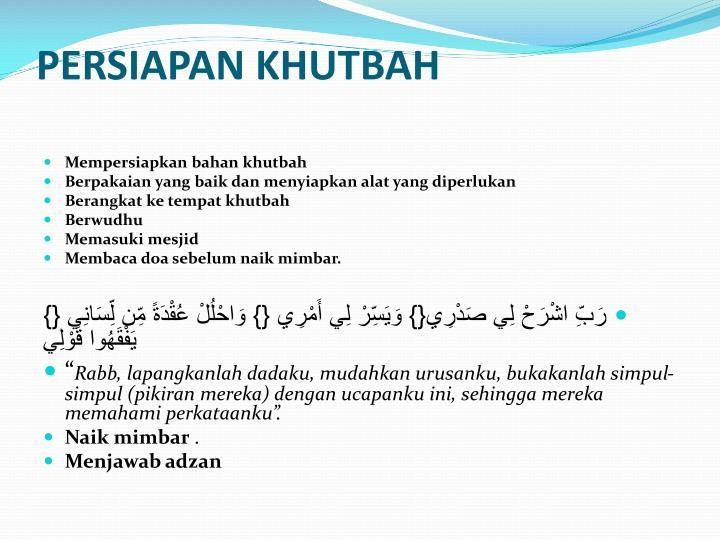 PERSIAPAN KHUTBAH