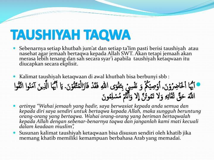 TAUSHIYAH TAQWA