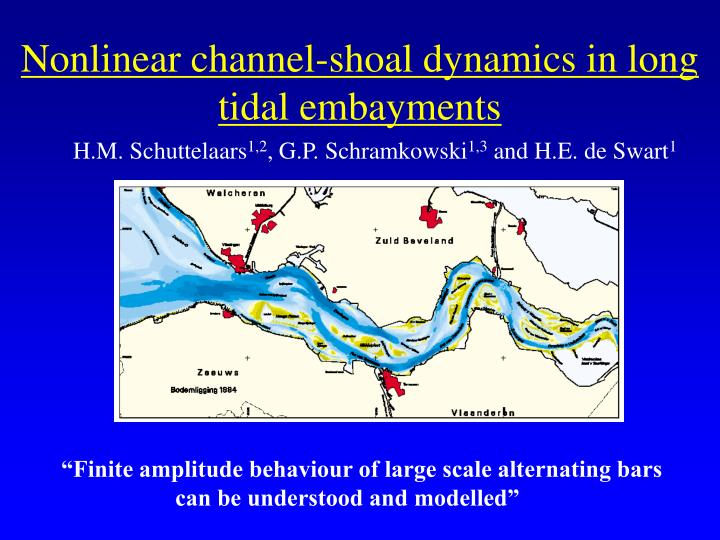 Nonlinear channel shoal dynamics in long tidal embayments