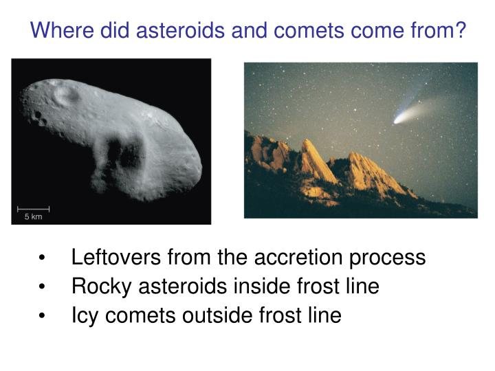 Where did asteroids and comets come from?