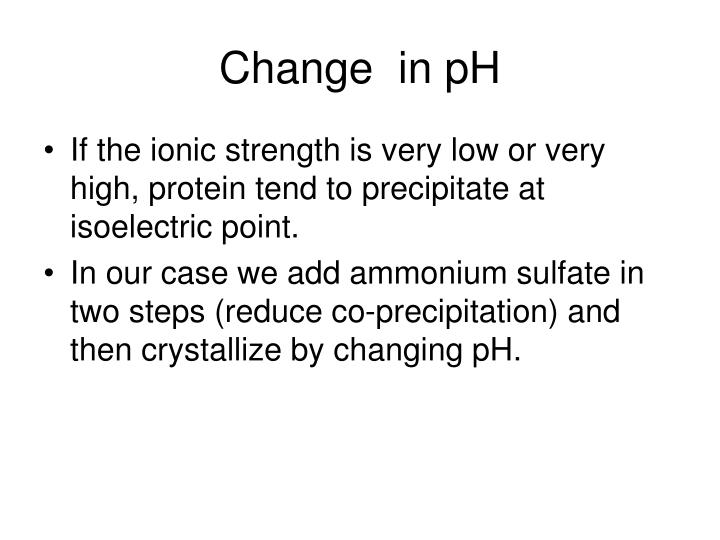Change  in pH