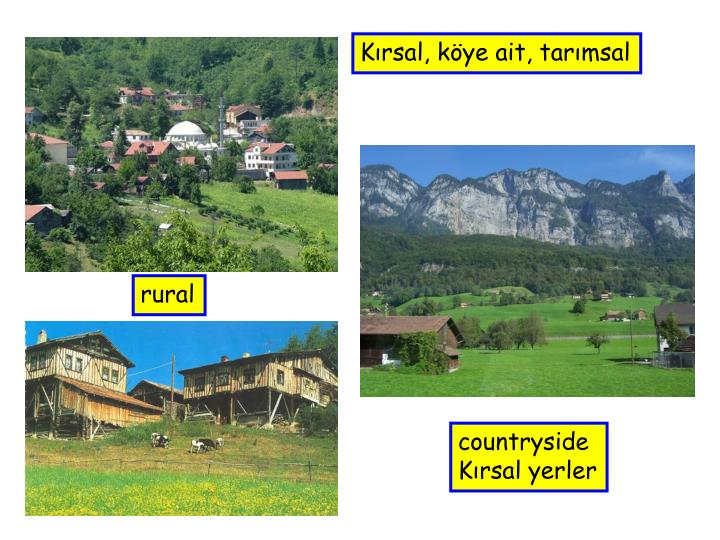 Kırsal, köye ait, tarımsal