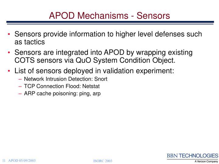 APOD Mechanisms - Sensors