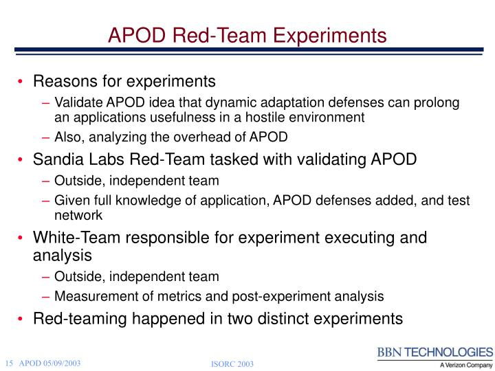 APOD Red-Team Experiments