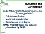 hq status and certification