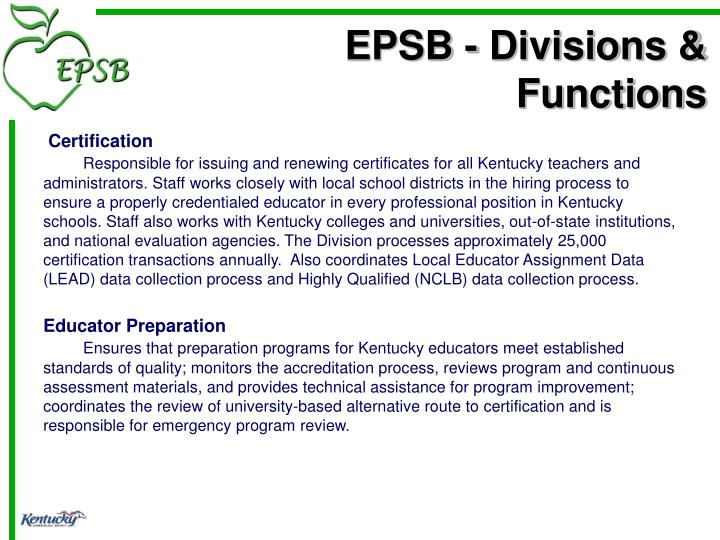 EPSB - Divisions & Functions
