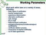 working parameters1